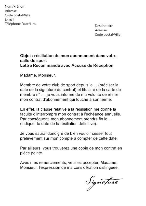 lettre de resiliation abonnement orange internet - Modele de lettre type
