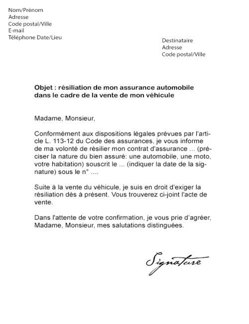 lettre de resiliation assurance voiture pour vente