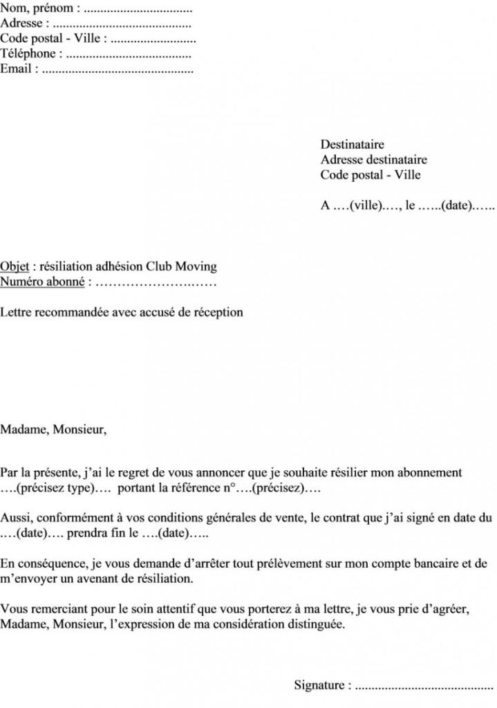 lettre de resiliation canalsat