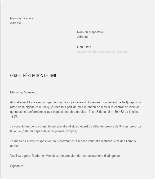 lettre de resiliation contrat de location appartement - Modele de lettre type