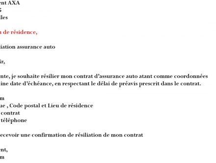 lettre de resiliation d'assurance auto