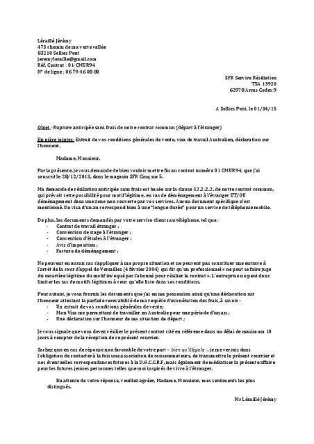 lettre de resiliation de bail pour mutation