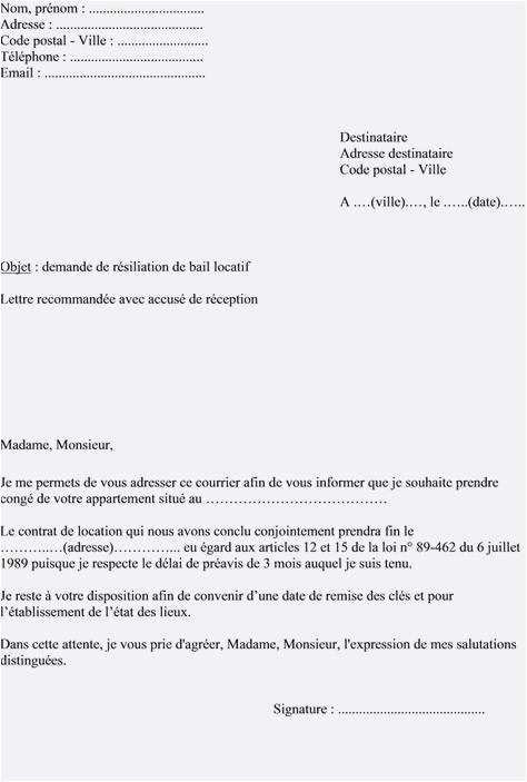 lettre de resiliation de bail sans preavis - Modele de lettre type