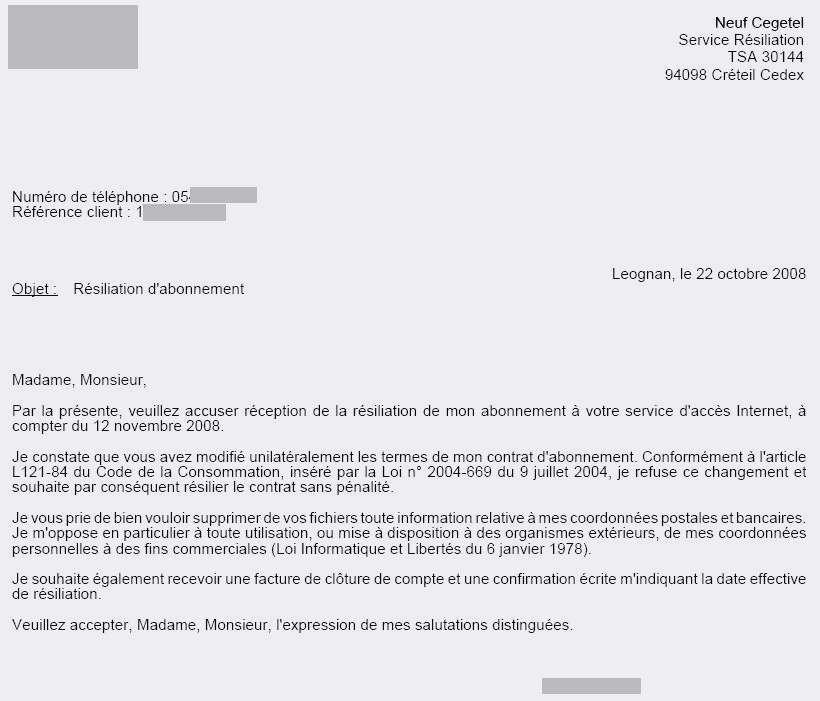 lettre de resiliation fournisseur internet - Modele de lettre type