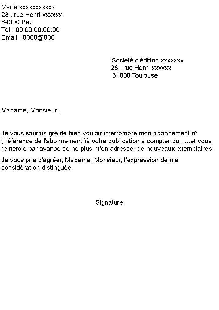 lettre de resiliation magazine - Modele de lettre type