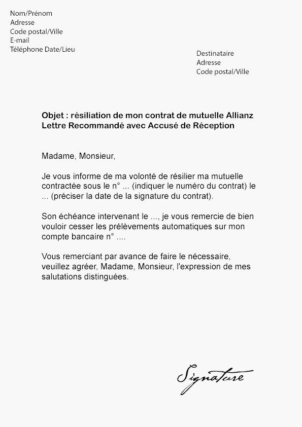 lettre de resiliation mutuelle gratuite - Modele de lettre type