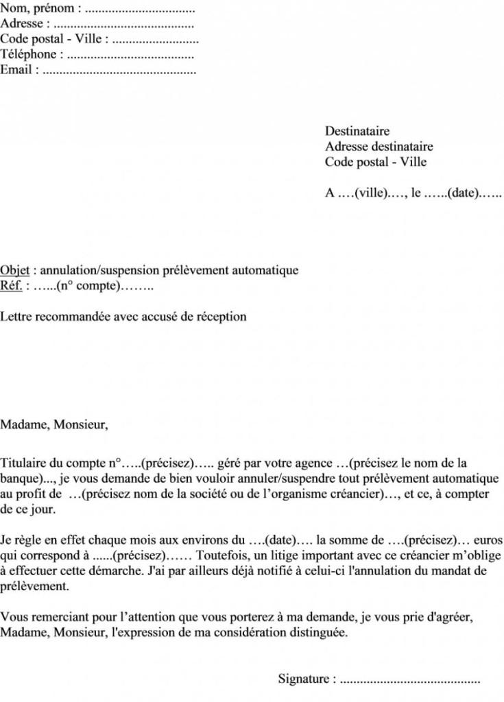 lettre de resiliation prelevement automatique