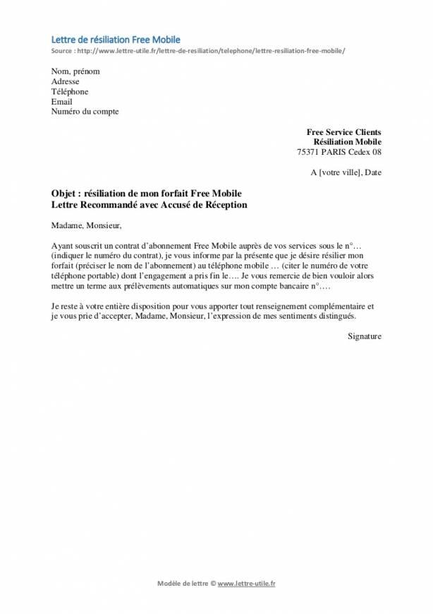 lettre de resiliation prelevement automatique - Modele de lettre type