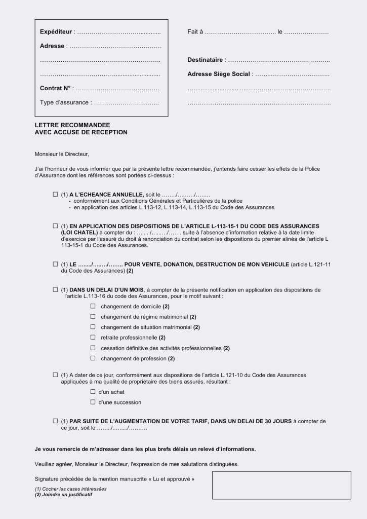 lettre de resiliation suite deces - Modele de lettre type