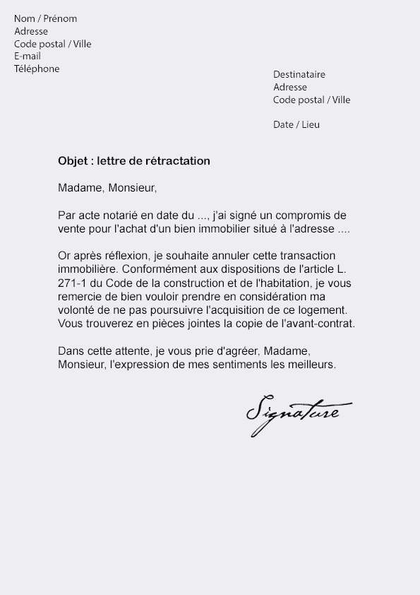 lettre de retractation pour l'achat d'un vehicule