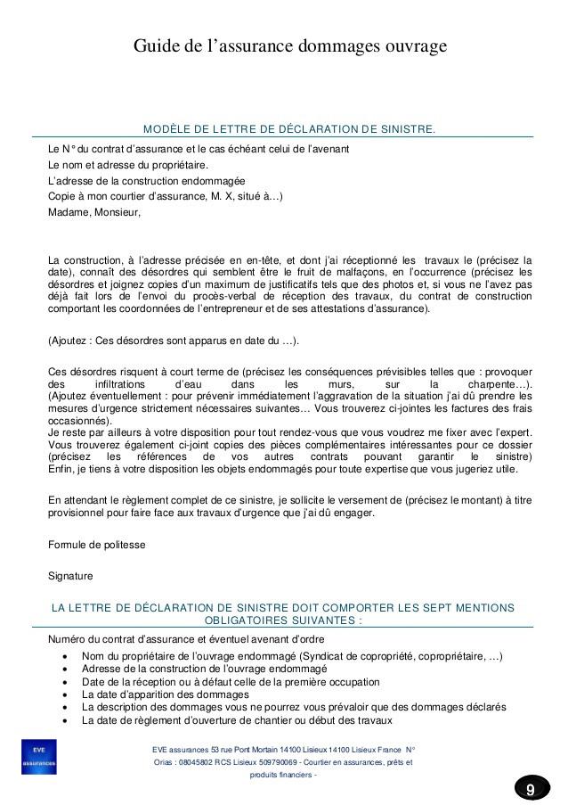 lettre declaration assurance objet casse