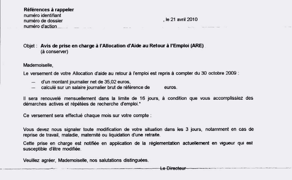 lettre demande attestation pole emploi