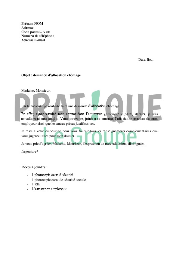 lettre demande d emploi gratuite - Modele de lettre type