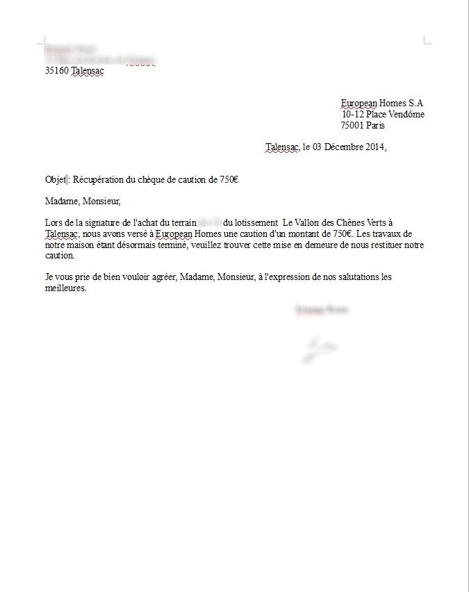 lettre demande remboursement caution