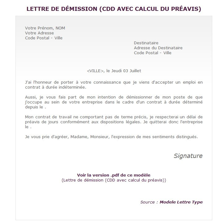 lettre demission cdd