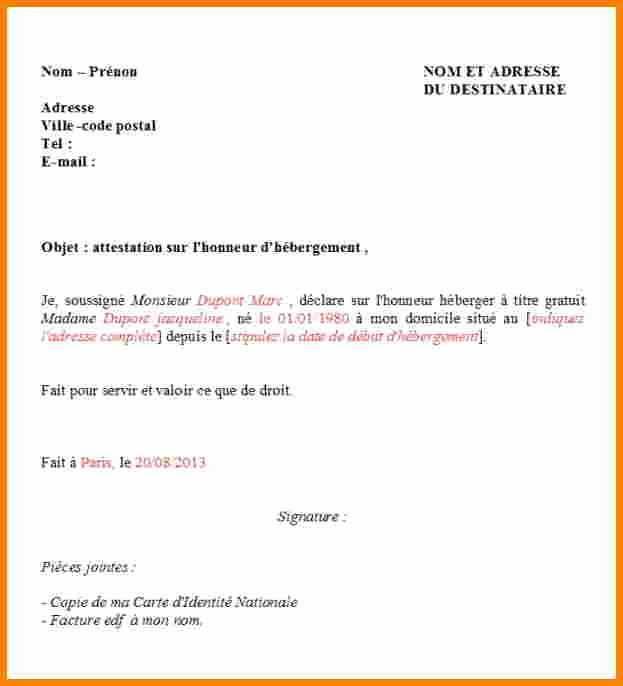 lettre dhebergement