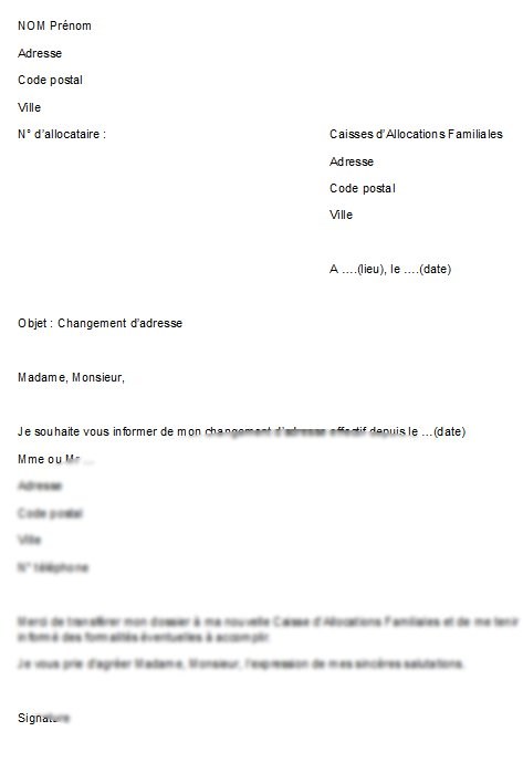 lettre exemple changement d'adresse