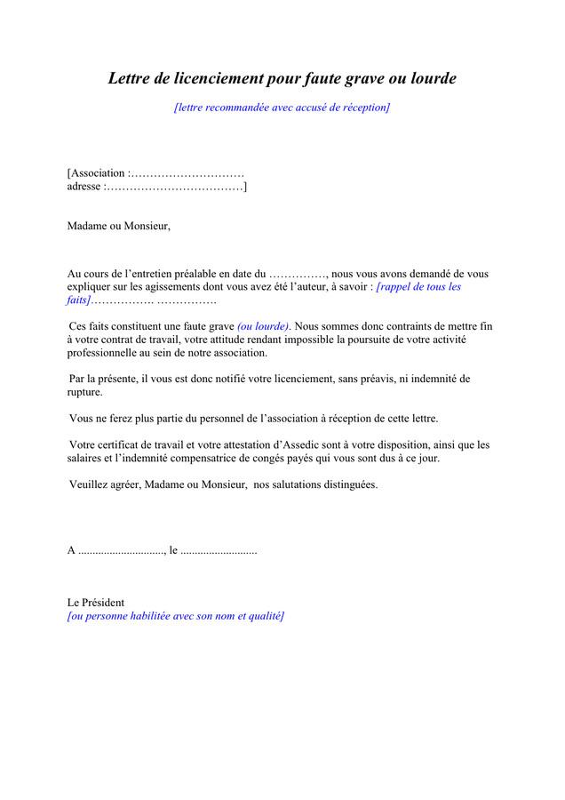 lettre licenciement assedic - Modele de lettre type