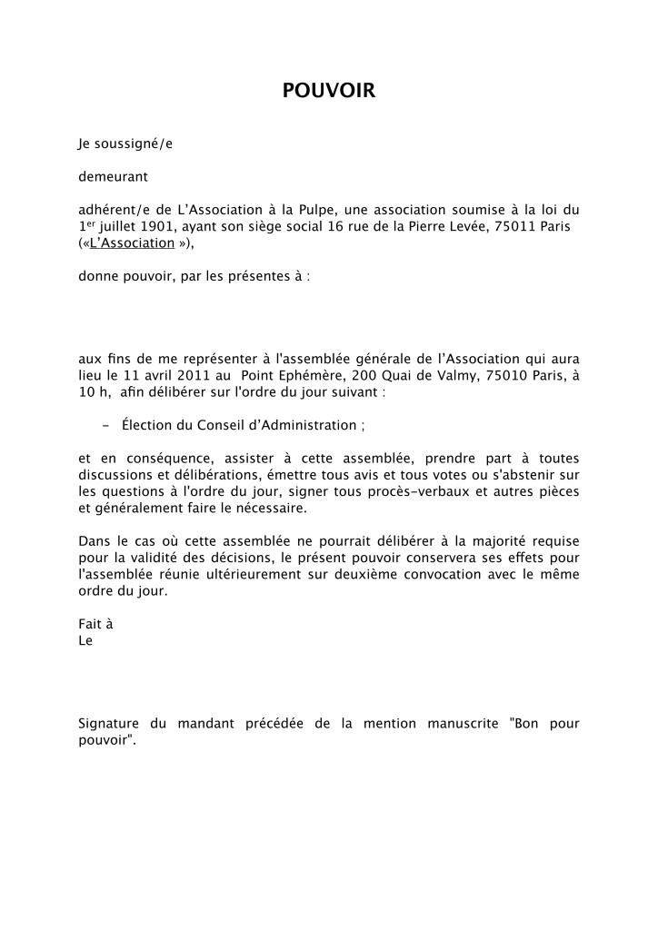 lettre mandat pouvoir