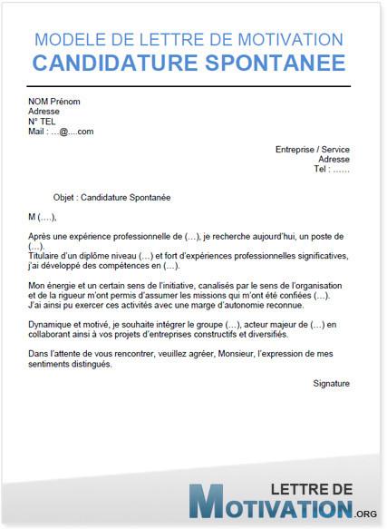 lettre motivation candidature spontanee mairie - Modele de lettre type
