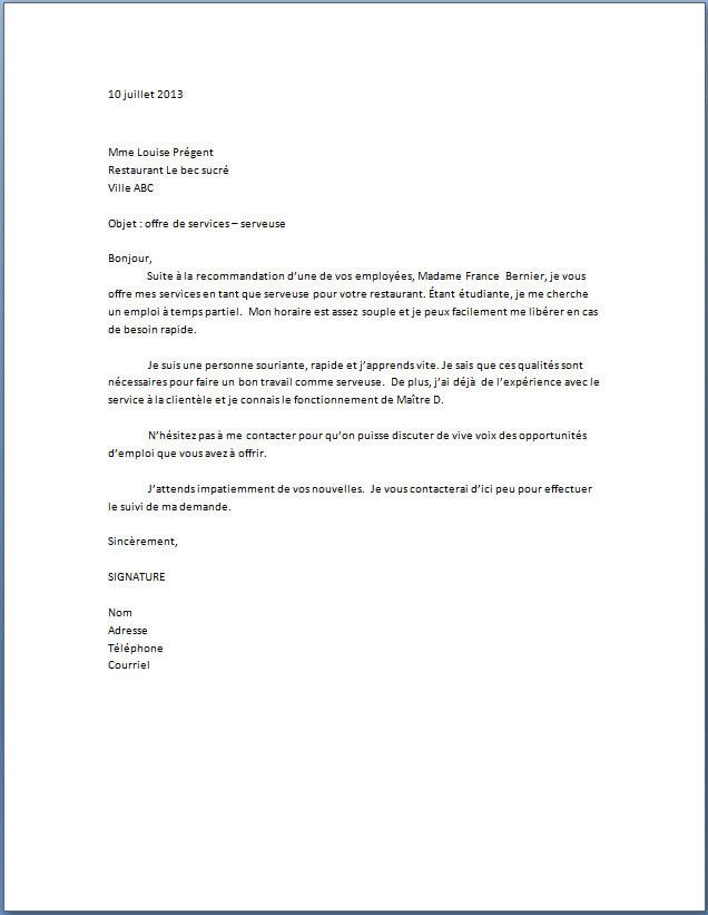 lettre motivation restaurant