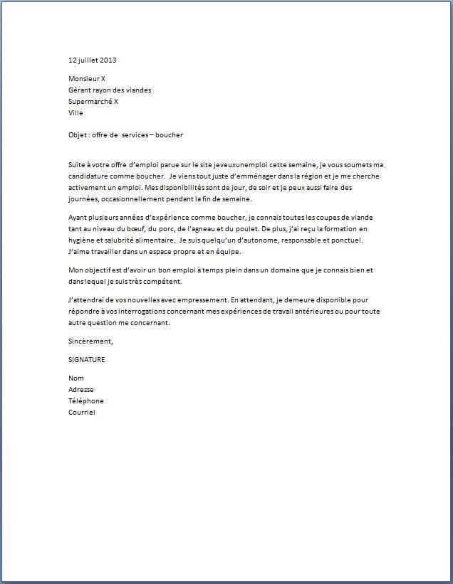 lettre motivation supermarche job ete