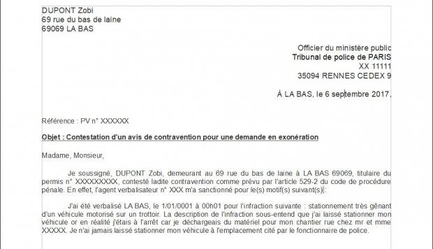 lettre pour contester une amende de stationnement