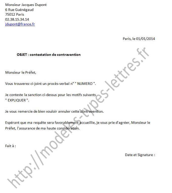 lettre pour contester une contravention