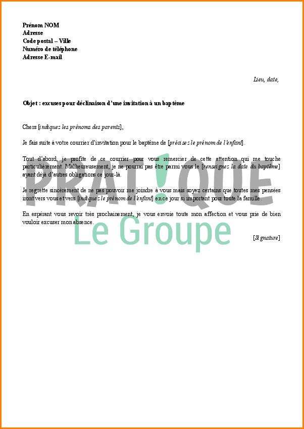 lettre pour demande d'absence au travail