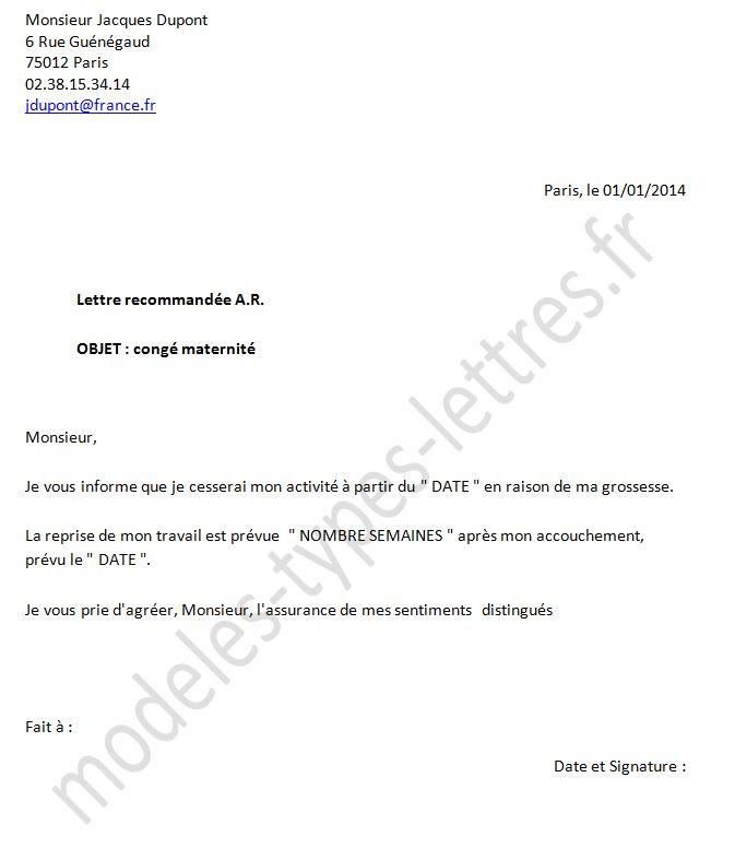 lettre pour demande de conge