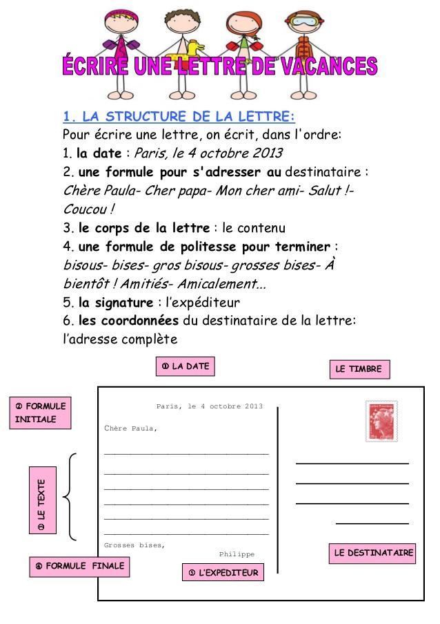 lettre pour les vacances exemple - Modele de lettre type