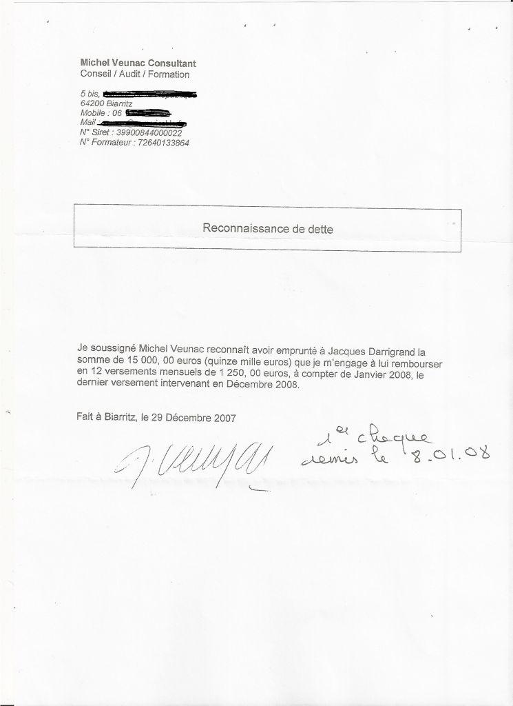 lettre pour reconnaissance de dette