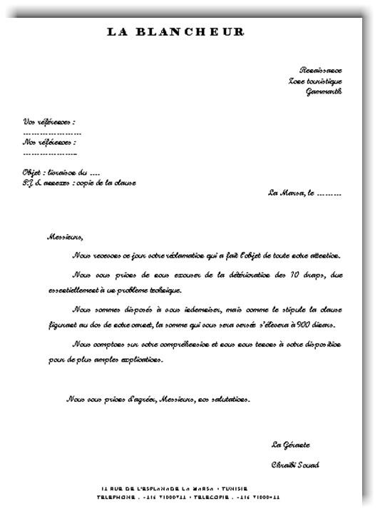 lettre reclamation client - Modele de lettre type