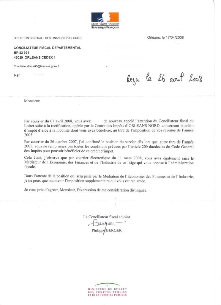 lettre reclamation impots locaux
