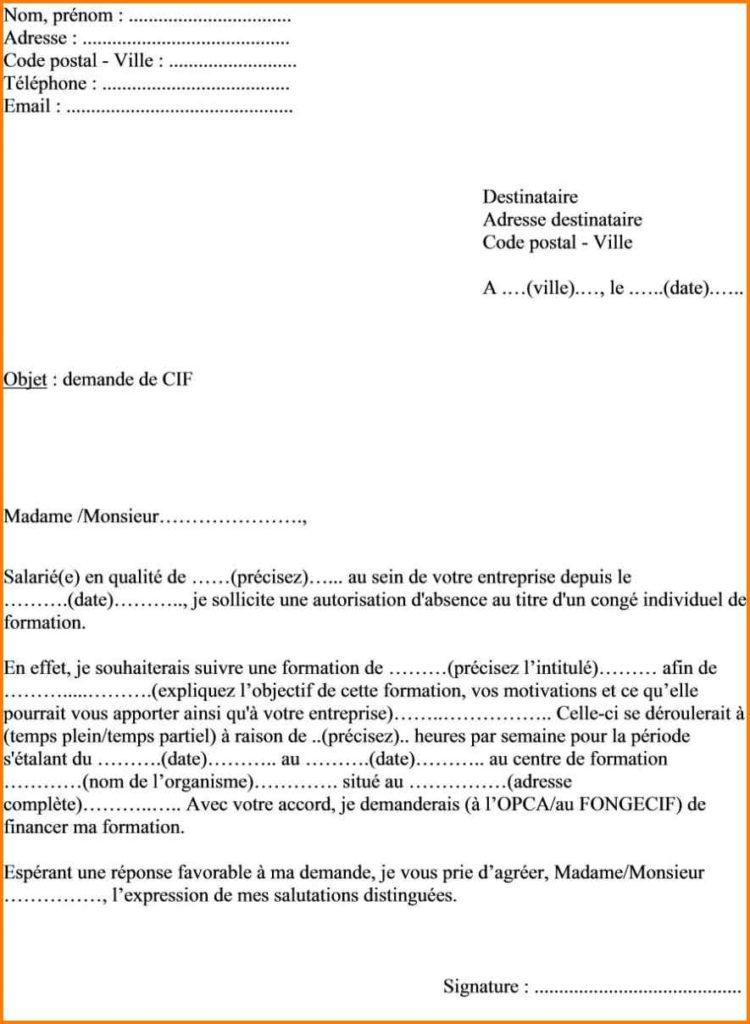 lettre recommandee pour conge parental - Modele de lettre type