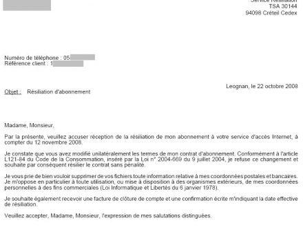 lettre resiliation abonnement internet sfr - Modele de lettre type