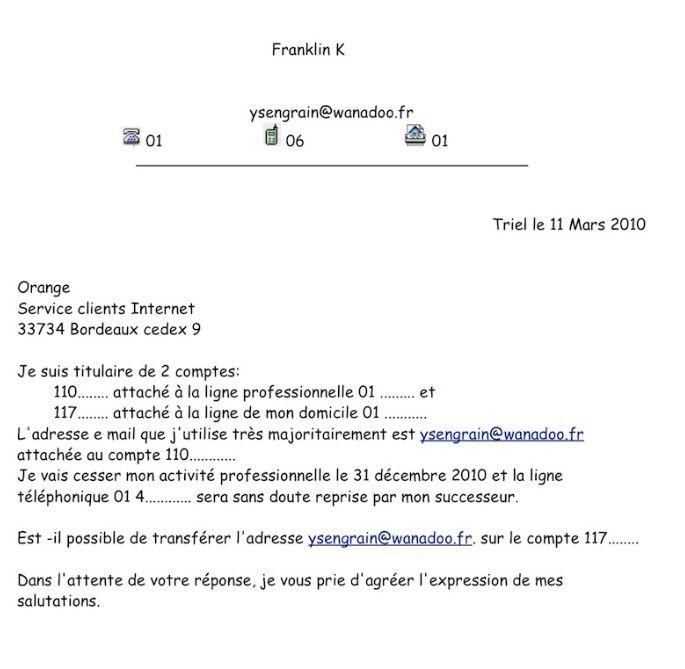 lettre resiliation abonnement mobile orange - Modele de lettre type