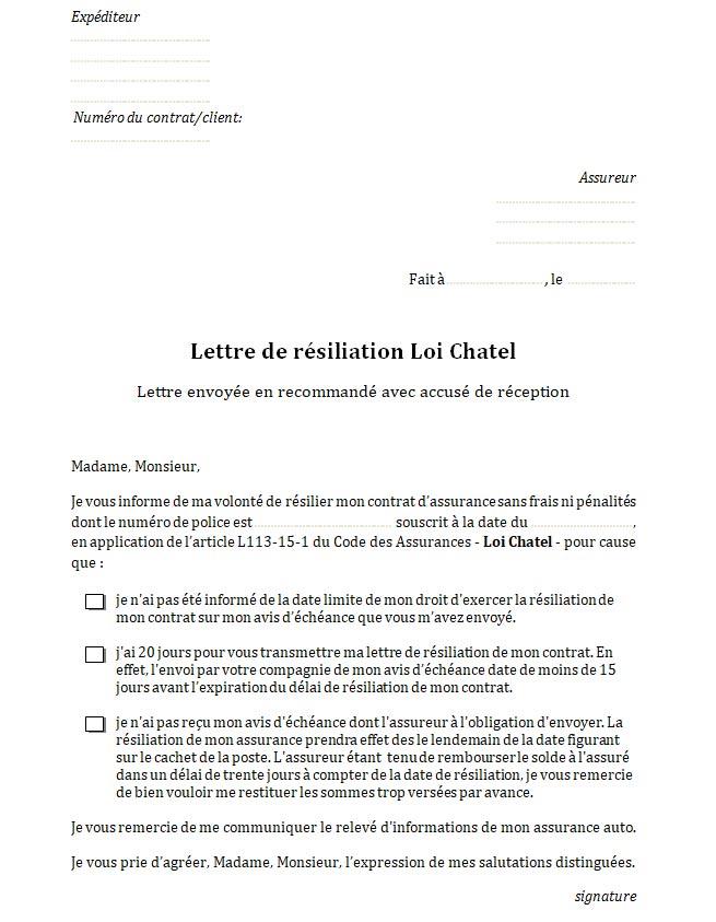 lettre resiliation assurance auto date anniversaire
