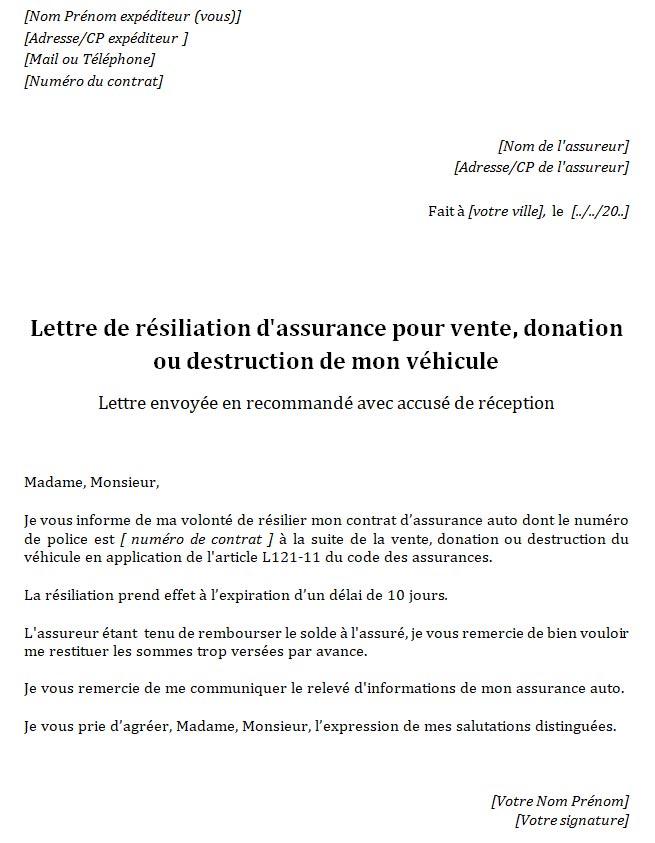 lettre resiliation assurance auto pour vente
