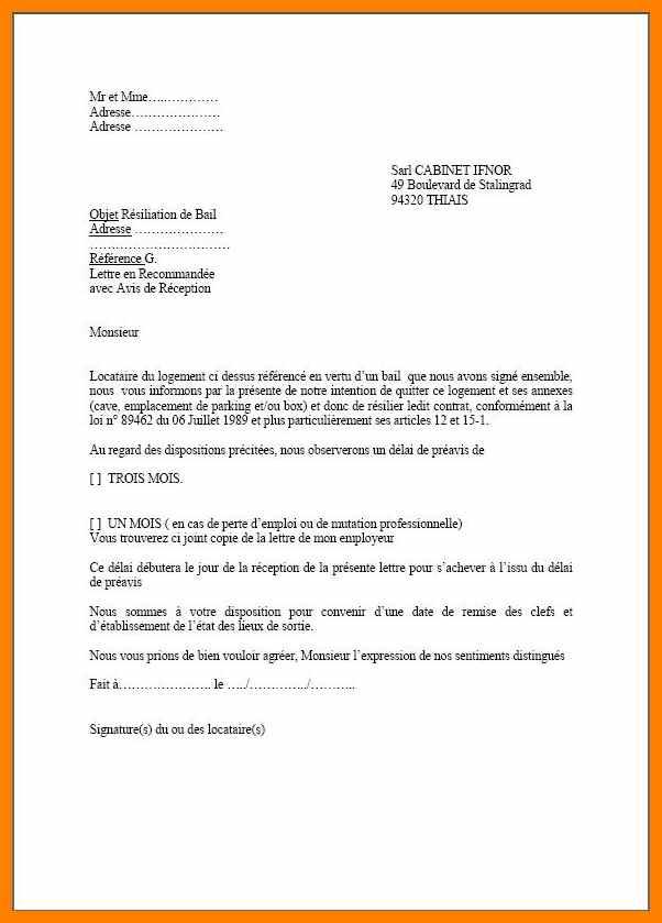 lettre resiliation bail commercial - Modele de lettre type
