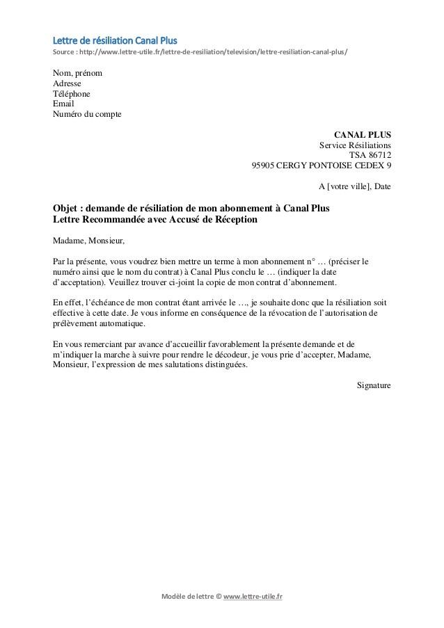 lettre resiliation canal satellite gratuite