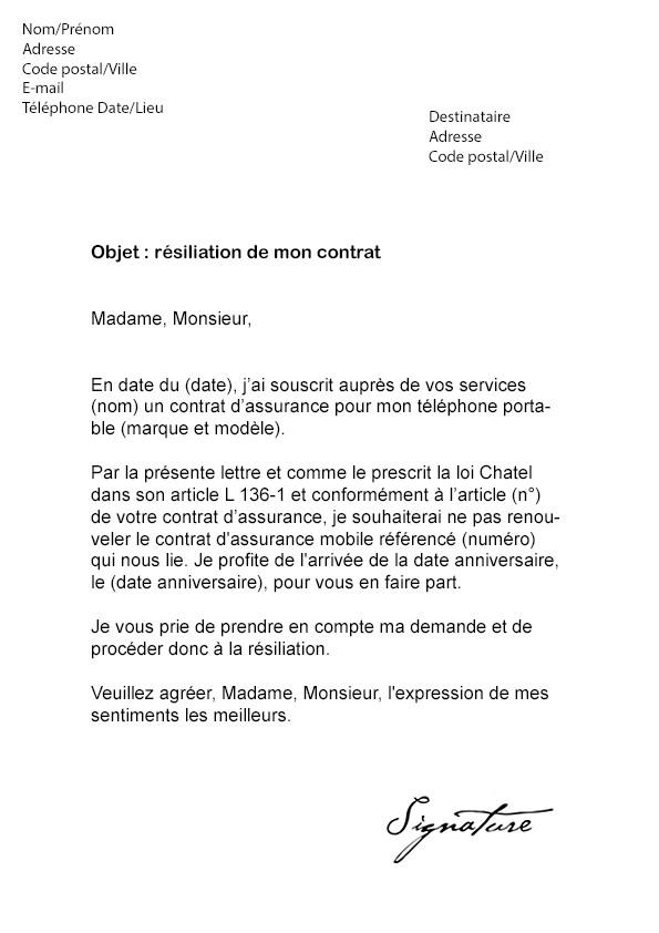 lettre resiliation orange mobile loi chatel - Modele de lettre type