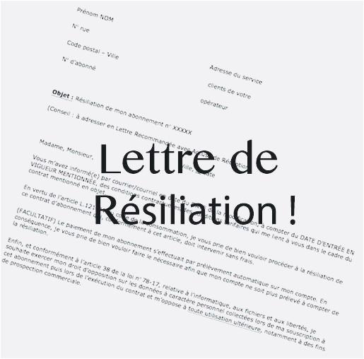 lettre resiliation sfr adsl gratuit