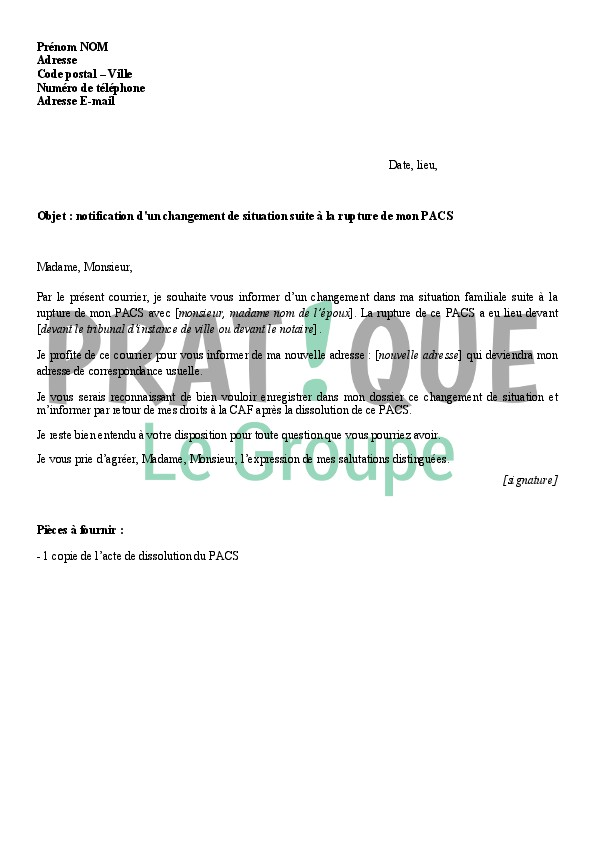 lettre type annulation pacs