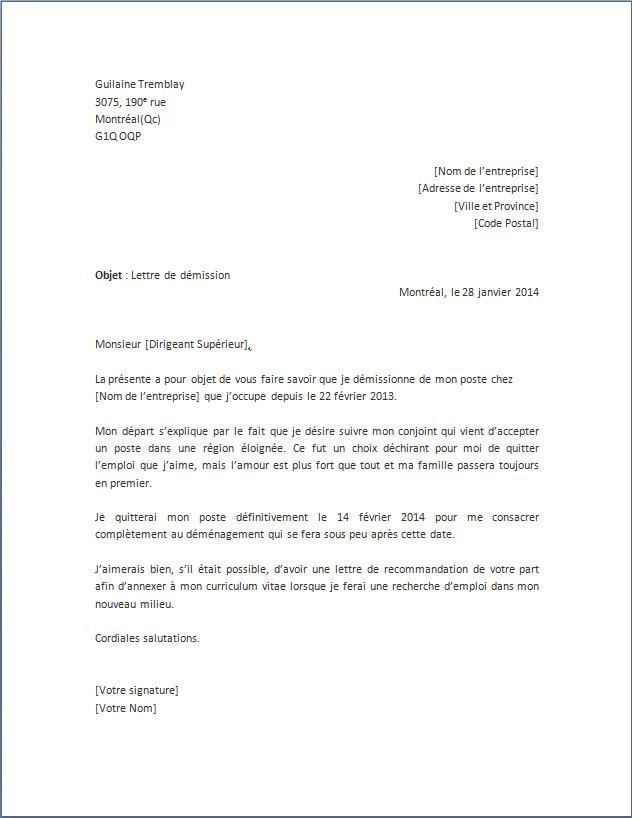 lettre type demenagement