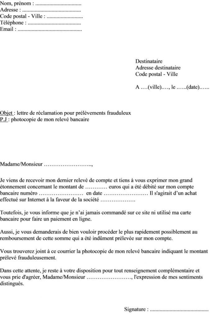lettre type pour la banque de france - Modele de lettre type