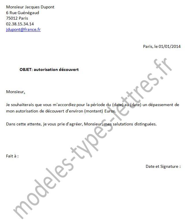 lettre type pour la banque de france
