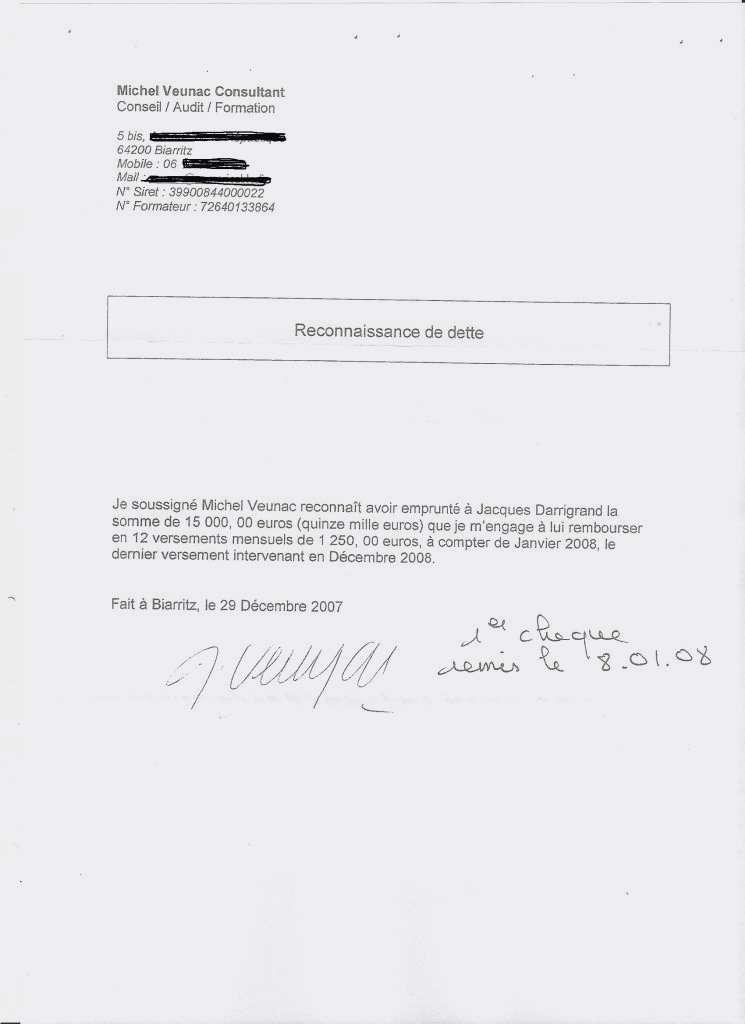 lettre type reconnaissance de dettes gratuit