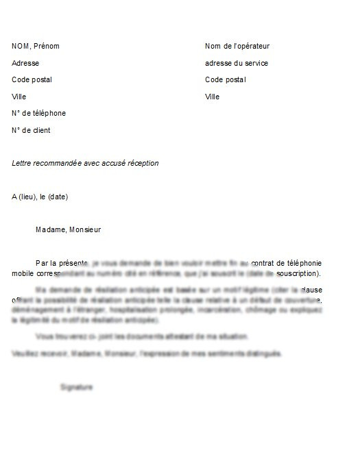 lettre type resiliation adsl