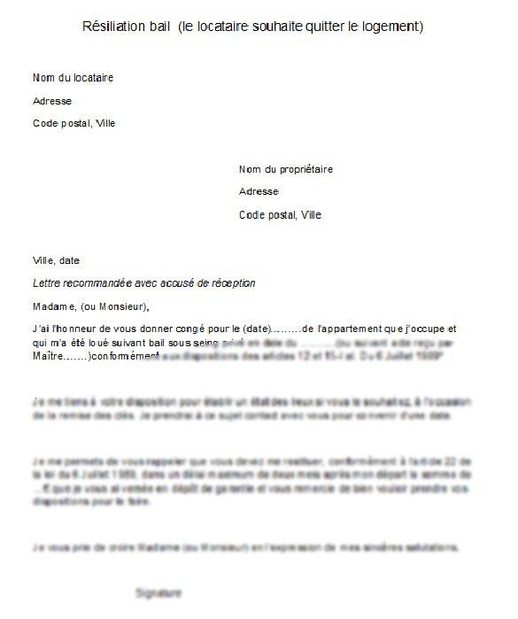 lettre type resiliation bail 1 mois
